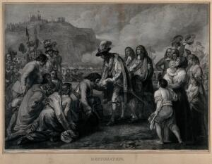 view King Charles II landing in Dover in 1660. Engraving by W. Sharp after B. West.