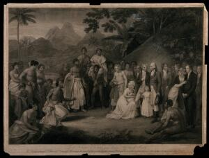 view Tahitians kneeling before Captain James Wilson after the cession of the district of Matavai in Tahiti. Stipple engraving with etching by F. Bartolozzi after R. Smirke.