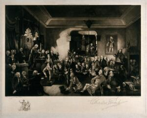 view Meeting of the Freemason's lodge in which the members perform elaborate secret rituals. Etching by C. Ewart after S. Watson.