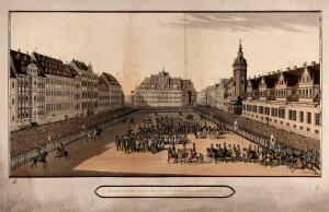 view The entry of the Allied sovereigns into Leipzig. Coloured aquatint.