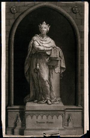 view King Henry VI, with his hands clasped above Eton College chapel. Mezzotint by W. Pether after J. Bacon.