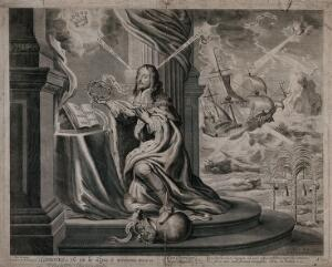 view King Charles I praying. Engraving by Abraham Hertochs, 1662 after P. Fruytiers after W. Marshall.