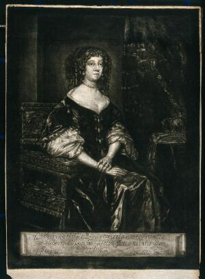 view Catherine of Braganza, consort of King Charles II. Mezzotint by H. H. Quiter after P. Lely, 1678.