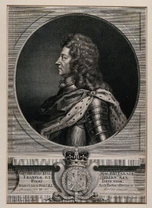 view King George I, head and shoulders, in profile. Engraving by J. Chereau after G. Kneller, 1714.
