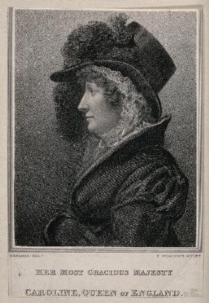 view Queen Caroline, wife of King George IV, head and shoulders in profile. Stipple print by T. Woolnoth after T. Wageman, ca. 1810.