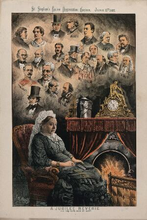 view Queen Victoria, seated in an armchair by an open fire; heads of various British politicians above her. Lithograph by Tom Merry, 11 June 1887.