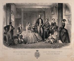 view Queen Victoria and Prince Albert surrounded by their nine children. Engraving by Best, ca. 1855.