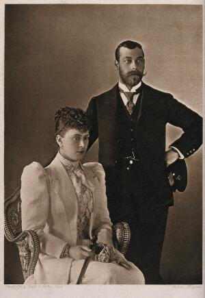 view King George V and Queen Mary seated. Photograph by Hughes and Mullins.