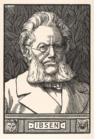 view Henrik Ibsen. Woodcut by R. Bryden, 1899.