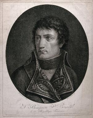 view Napoleon Bonaparte: head and shoulders. Stipple print by M. Mercoli after L. Bacler d'Albe.