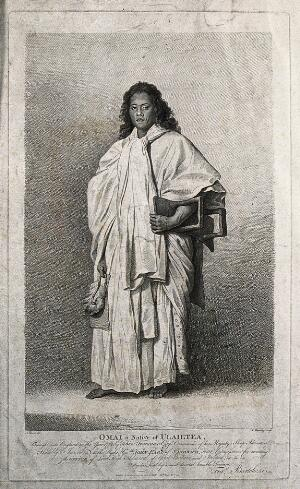 view Omai, an inhabitant of the island of Utietea. Engraving by F. Bartolozzi after N. Dance, 25 October 1774.