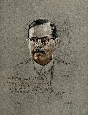 view Bernardo Alberto Houssay: head and shoulders portrait. Colour photolithograph, ca. 1935.