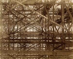 view The Crystal Palace during its re-erection at Sydenham, London: metal girders. Photograph by Philip Delamotte, ca. 1854.