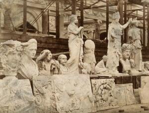 view The Crystal Palace during its re-erection at Sydenham, London: statues and bas-reliefs awaiting positioning in the unfinished interior. Photograph by Philip Delamotte, ca. 1854.