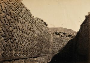 view Mexico: the carved walls of an excavated ruin. Photograph by Desiré Charnay, ca. 1858.