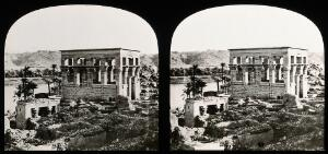 """view The Hypaethral Temple (called the """"Pharoah's bed""""), Philae, Egypt; stereoscopic views. Photograph by Francis Frith, 1856/1859."""