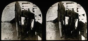 view The Hall of Columns, Karnac, Egypt; showing hieroglyphic marks; stereoscopic views. Photograph by Francis Frith, 1856/1859.