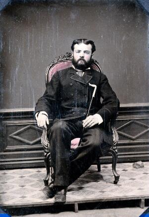view Joseph Dawson seated in a chair: portrait in a studio in San Salvador, the Bahamas. Photograph, 1855/1865.