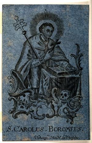 view Saint Carlo Borromeo in prayer. Engraving.