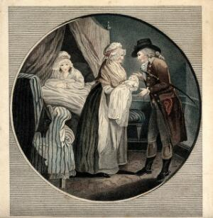 view A mother in bed after having given birth; the midwife showing the baby to the father. Coloured stipple engraving, ca. 1800.