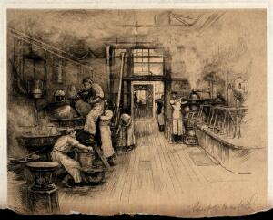 view A pharmaceutical business (John Bell & Co.): rooms for manufacture, dispensing, and shop. Etching by R.W. Macbeth.