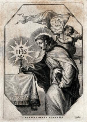view Saint Bernardino of Siena, adoring the name of Jesus. Line engraving by C. Galle.