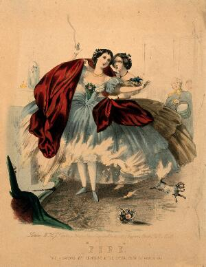 view Women wearing crinolines which are set on fire by flames from a domestic fireplace. Coloured lithograph, ca. 1860.
