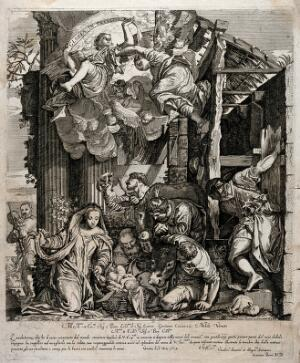 view The adoration of the shepherds at the birth of Christ. Etching by G. Barri, 1667, after Paolo Caliari, il Veronese.