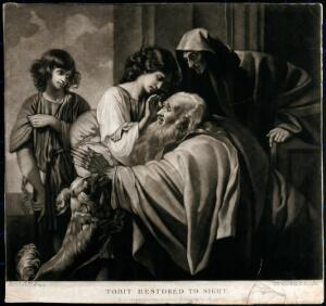 view Tobias curing his father's blindness. Mezzotint by J. Young after B. West, 1792.
