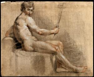 view A seated male nude looking over his right shoulder and holding a staff. Black and red chalk drawing with white highlights.