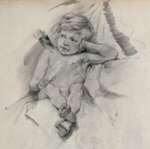 view A seated boy dressed as Cupid. Pencil drawing.