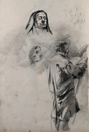 view A sheet with two sketches of a nun's head and a standing male figure painting. Pencil drawing.