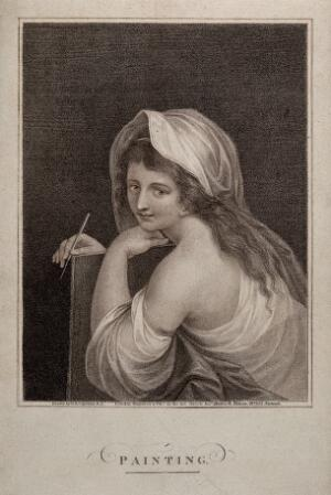 view A woman personifying painting. Stipple engraving by R. Hixon, 1806, after G.B. Cipriani.