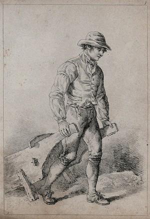 view A man pulling a wheelbarrow. Lithograph, 1813.