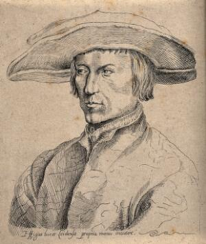 view A man, head and shoulders, intended to be Lucas van Leyden. Pen and ink drawing after an etching after a drawing by Albrecht Dürer.