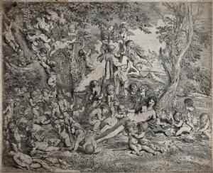 view The garden of Venus: Venus surrounded by many cupids who climb trees and a herm. Etching by P. Testa.