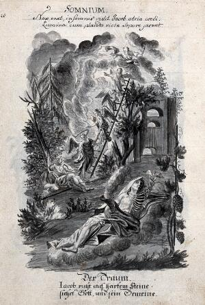 view Allegory of dreams: a man half skeleton and half flesh is reclining on the ground holding the caduceus and a horn; Jacob's dream of the ladder in the background. Drawing, ca. 1740.