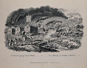 view Building materials marching out of London and invading the countryside. Etching by G. Cruikshank after himself, 1 November 1829.