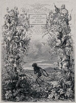 view Death as a skeleton is about to sever with a scythe a plant on which are standing various people. Engraving by J. Williams after E.K. Johnson, ca. 1880.