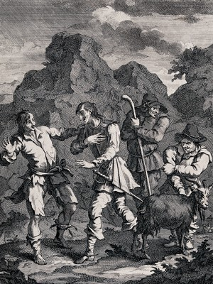 view Four figures including the knight of the rock, Don Quixote, Sancho Panza, a goatherd and a goat. Engraving by William Hogarth.