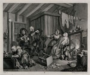 "view Wrapped in ""sweating"" blankets and close to the fire Moll Hackabout nears death as two doctors argue. Engraving by William Hogarth."