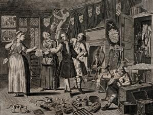 view In a room hung with black drapes to show mourning, Ramble Gripe, in the company of a pregnant woman holding out a ring, and her mother with a letter, is measured by a tailor; a coffin lid leans against the fireplace. Engraving by Thomas Bowles, 1735.