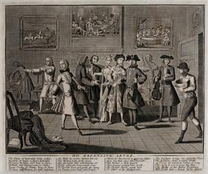 view The elaborately dressed rake holds a purse as a man presents him with an invoice; a lace-seller, a fencing master, a violin player, a cocker and a jockey represent the services and pursuits he is engaged in. Engraving by Thomas Bowles, 1735.