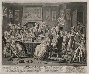 view The rake carouses in a tavern full of prostitutes. Engraving by Thomas Bowles, 1735.
