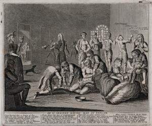 view In a lunatic asylum, and in the company of a variety of other deranged individuals, a half-naked Ramble Gripe, his wrists chained, is restrained by orderlies. Engraving by T. Bowles, 1735.