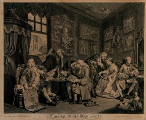 view A nobleman and an alderman sit at a table neggotiating a marriage settlement between the son of the former and the daughter of the latter. Engraving by Louis Gérard Scotin after William Hogarth, 1745.