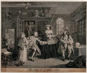 view In the cabinet of the quack doctor, the viscount Squanderfield holds out a small pill-box as a young girl dabs her face with a handkerchief. Engraving by B. Baron after W. Hogarth, 1745.