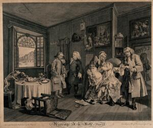 view The countess, having taken a dose of laudanum nears death, and is kissed by her sickly child held towards her by an elderly maid; her father slips her ring from her finger. Engraving by Louis Gérard Scotin after William Hogarth, 1745.