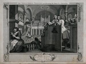 view In the company of his master's daughter Francis Goodchild sings attentively from a hymn book during a church service. Engraving by Thomas Cook after William Hogarth, 1796.
