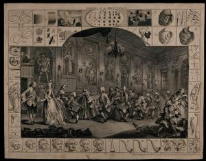 """view A country dance in a long hall; the elegance of the couple on the left contrasts with the ridiculous poses of the more rustic figures beyond representing """"unidealized"""" humanity; straight, angular and round shapes. Engraving by William Hogarth, 1753."""